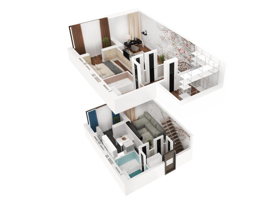Планування багаторівневої квартири в ЖК Ковалівський 81.17 м², фото 117925