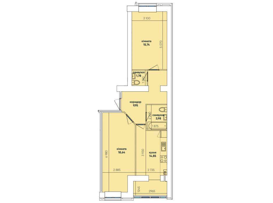Планування 2-кімнатної квартири в ЖК Ковалівський 64.94 м², фото 117927