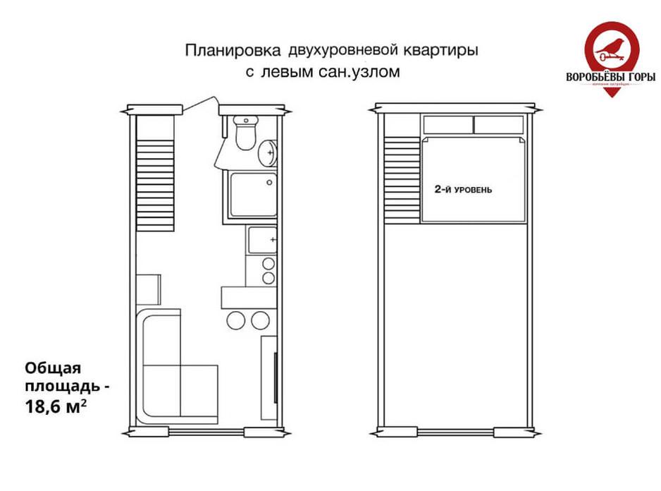 Планировка многоуровневой квартиры в ЖК Бестужевские сады 18.6 м², фото 118474