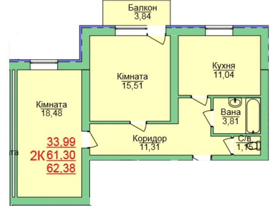 Планування 2-кімнатної квартири в ЖК Зелена оаза 62.38 м², фото 118944