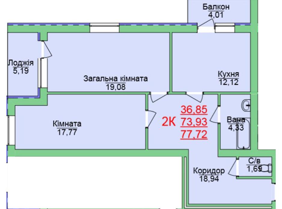 Планування 2-кімнатної квартири в ЖК Зелена оаза 77.72 м², фото 118956