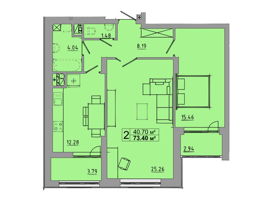Планировка 2-комнатной квартиры в ЖК Централ Холл 73.4 м², фото 119088