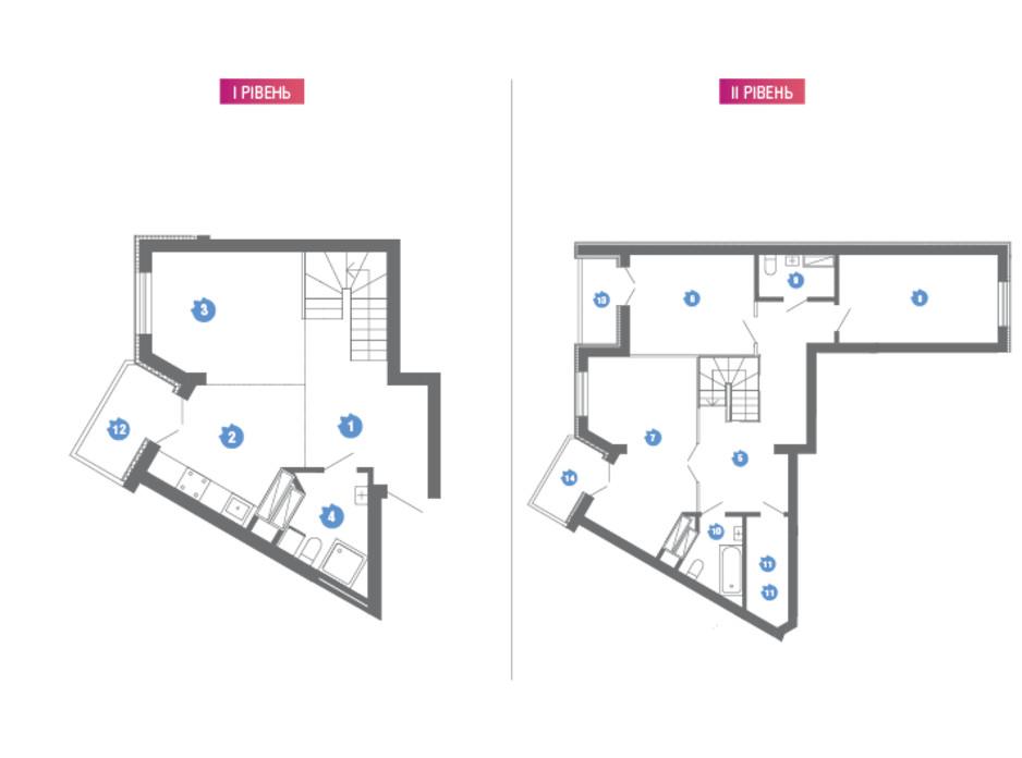 Планировка многоуровневой квартиры в ЖК Family & Friends 123.2 м², фото 119825