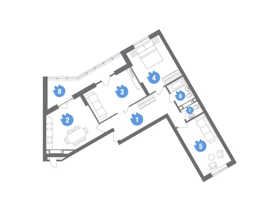 Планировка 3-комнатной квартиры в ЖК Family & Friends 100.18 м², фото 119833