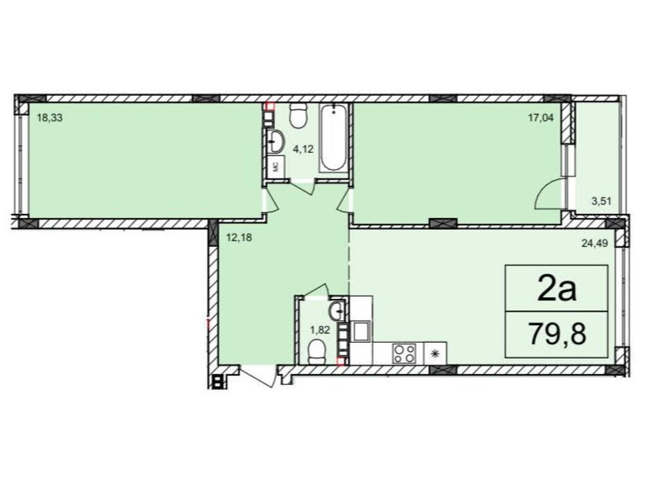 Планування 2-кімнатної квартири в ЖК Білий Шоколад 79.8 м², фото 120565
