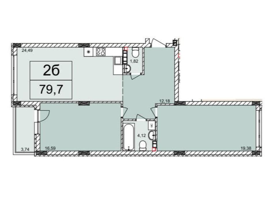 Планировка 2-комнатной квартиры в ЖК Белый Шоколад 79.7 м², фото 120570