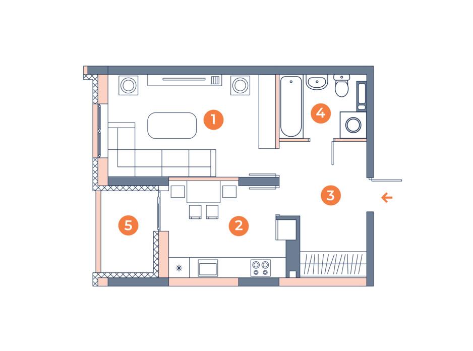 Планировка 1-комнатной квартиры в ЖК Orange City 39.21 м², фото 121829