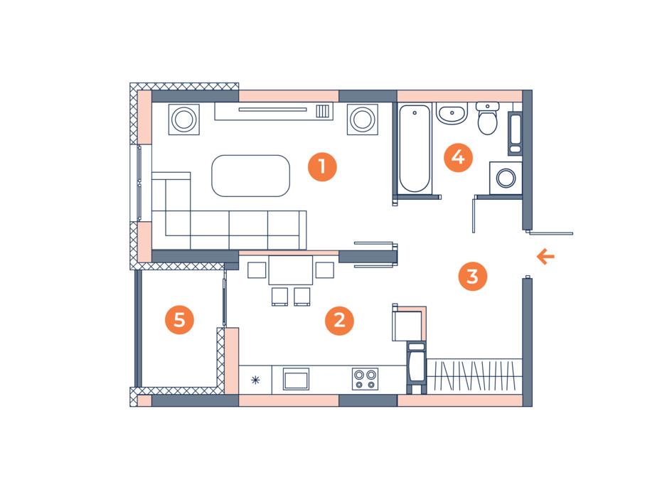 Планировка 1-комнатной квартиры в ЖК Orange City 39.47 м², фото 121830