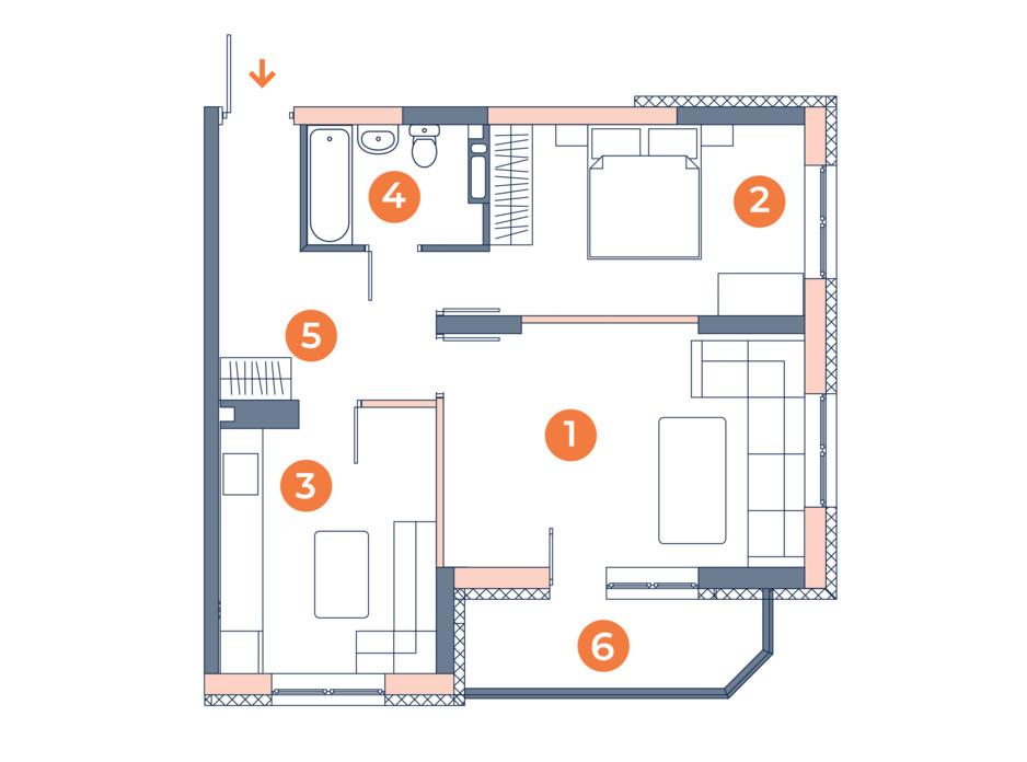 Планировка 2-комнатной квартиры в ЖК Orange City 53.42 м², фото 121831