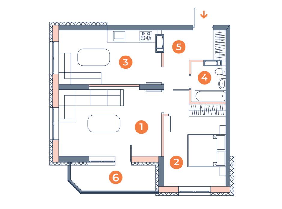Планировка 2-комнатной квартиры в ЖК Orange City 54.51 м², фото 121833