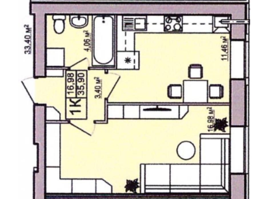 Планування 1-кімнатної квартири в ЖК Правильний вибір 35.9 м², фото 122280