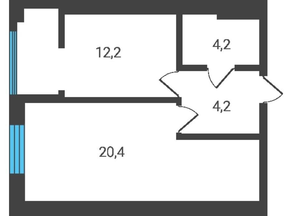 Планировка 1-комнатной квартиры в ЖК Семейная Крепость.Счастье 41 м², фото 123269