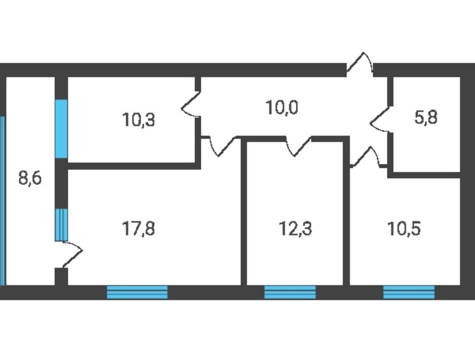 Планировка 3-комнатной квартиры в ЖК Семейная Крепость.Счастье 80.44 м², фото 123271