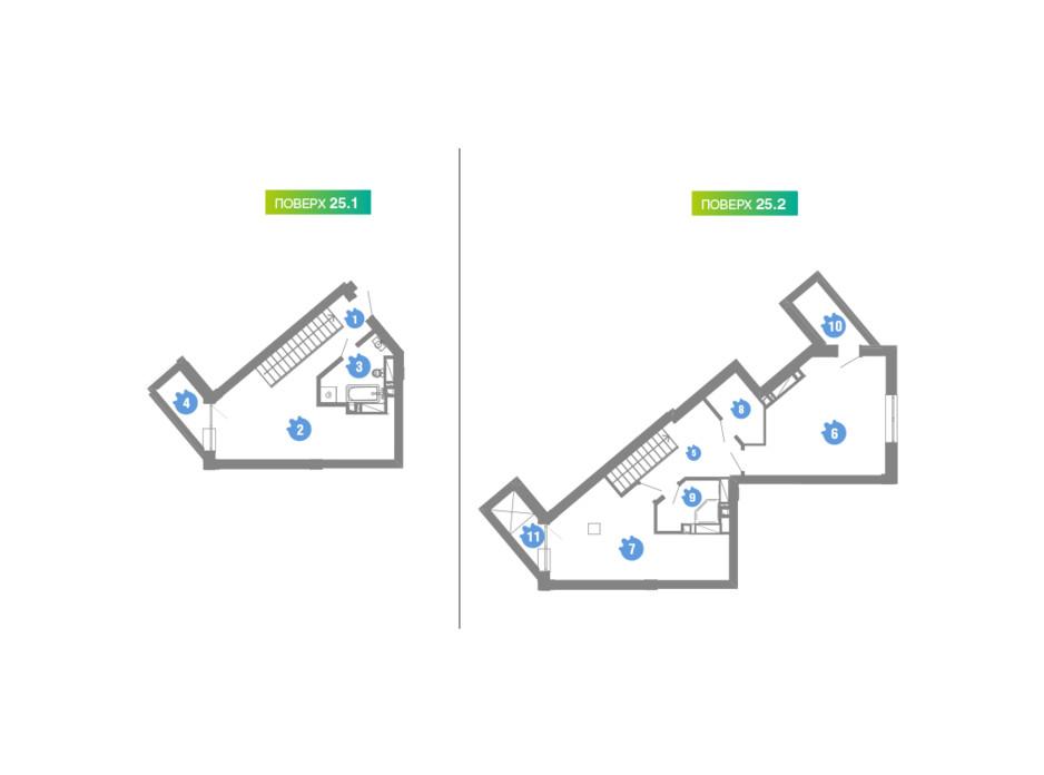 Планировка многоуровневой квартиры в ЖК Family & Friends 81.1 м², фото 123923