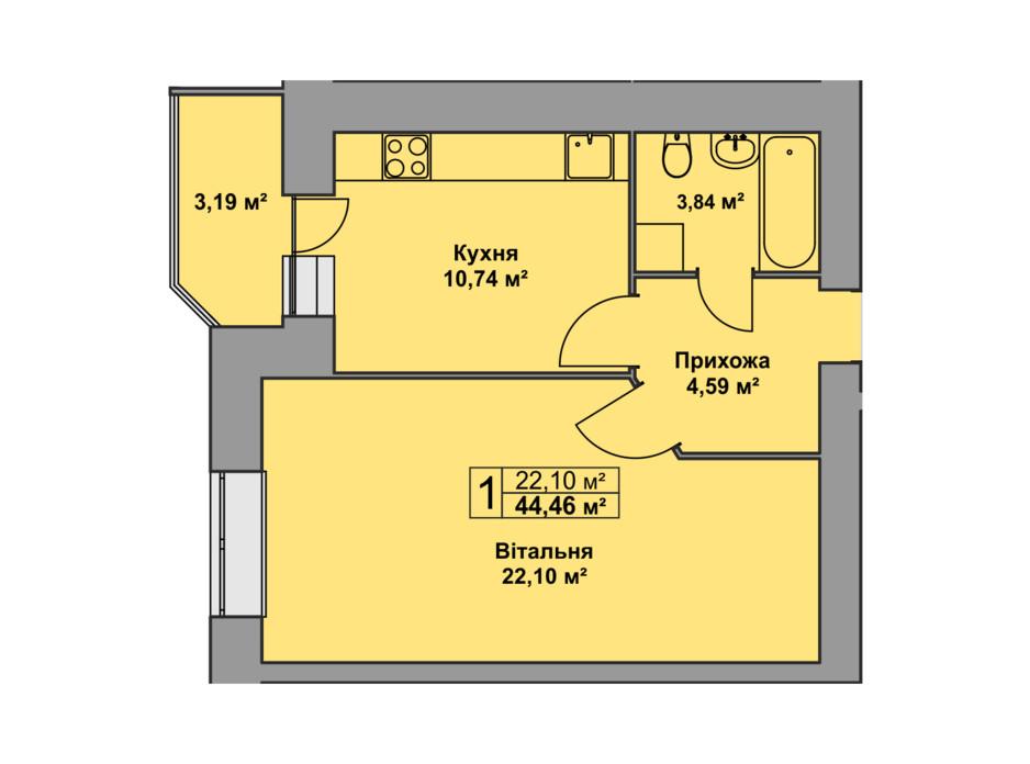 Планировка 1-комнатной квартиры в ЖК Східна Брама 44.46 м², фото 126477