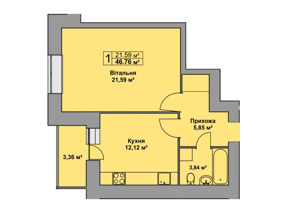 Планировка 1-комнатной квартиры в ЖК Східна Брама 46.76 м², фото 126478