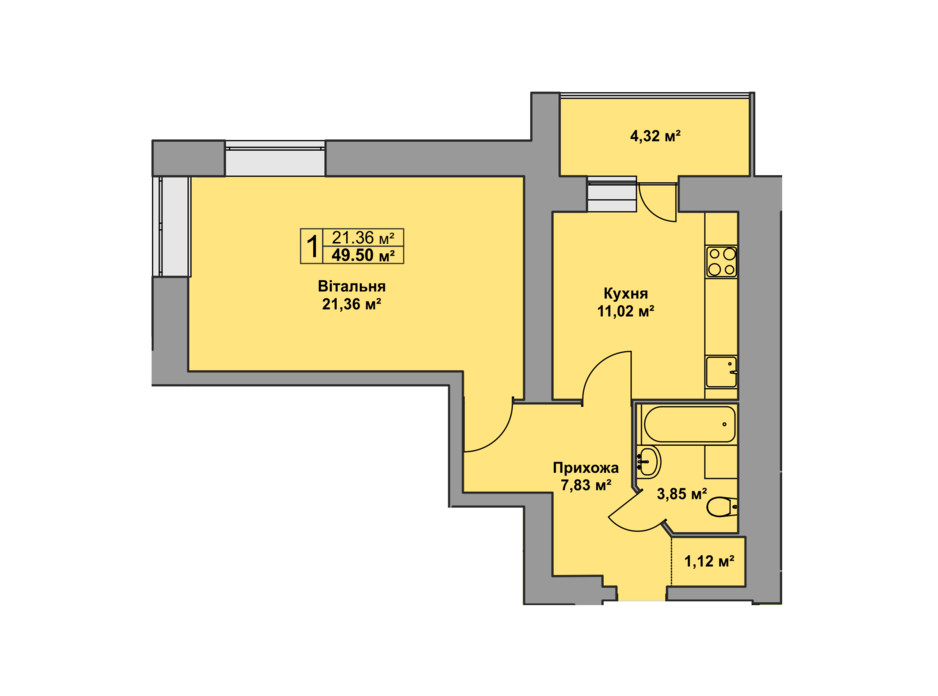 Планировка 1-комнатной квартиры в ЖК Східна Брама 49.5 м², фото 126479