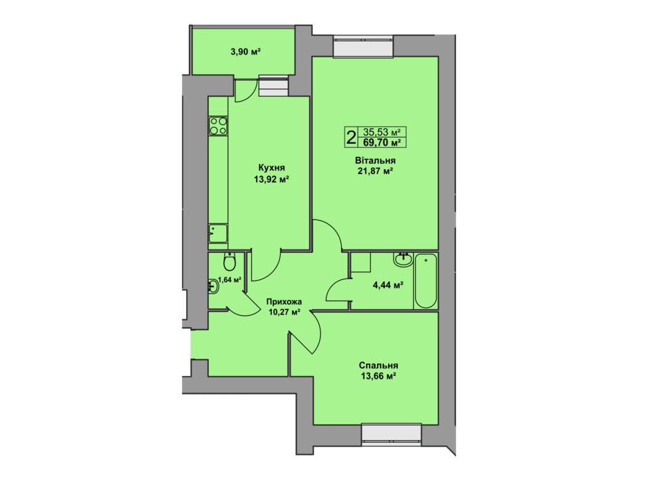 Планировка 2-комнатной квартиры в ЖК Східна Брама 69.7 м², фото 126483