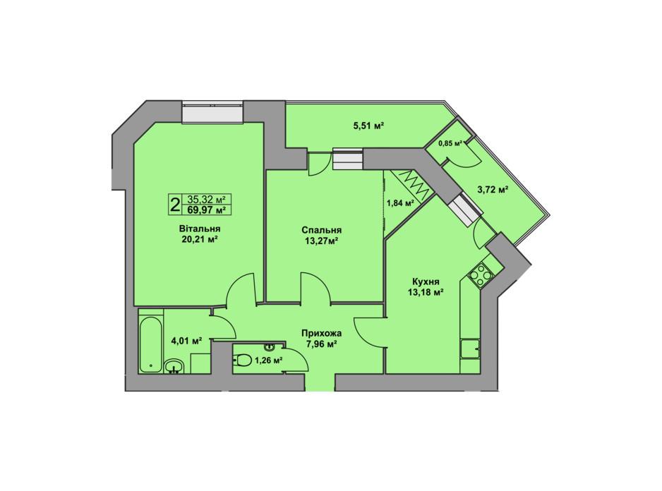Планировка 2-комнатной квартиры в ЖК Східна Брама 69.97 м², фото 126484