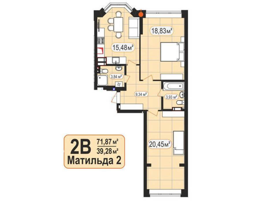 Планировка 2-комнатной квартиры в ЖК Мюнхаузен 2 71.87 м², фото 128020