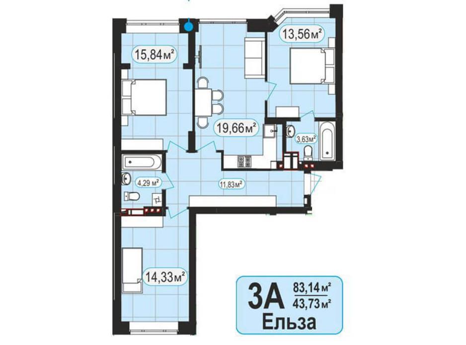 Планування 3-кімнатної квартири в ЖК Мюнхаузен 2 83.14 м², фото 128021