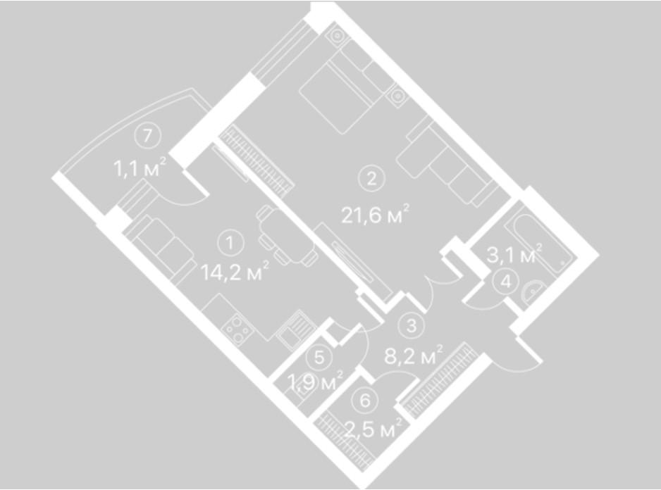 Планування 1-кімнатної квартири в ЖК Київський шлях 52.6 м², фото 128112