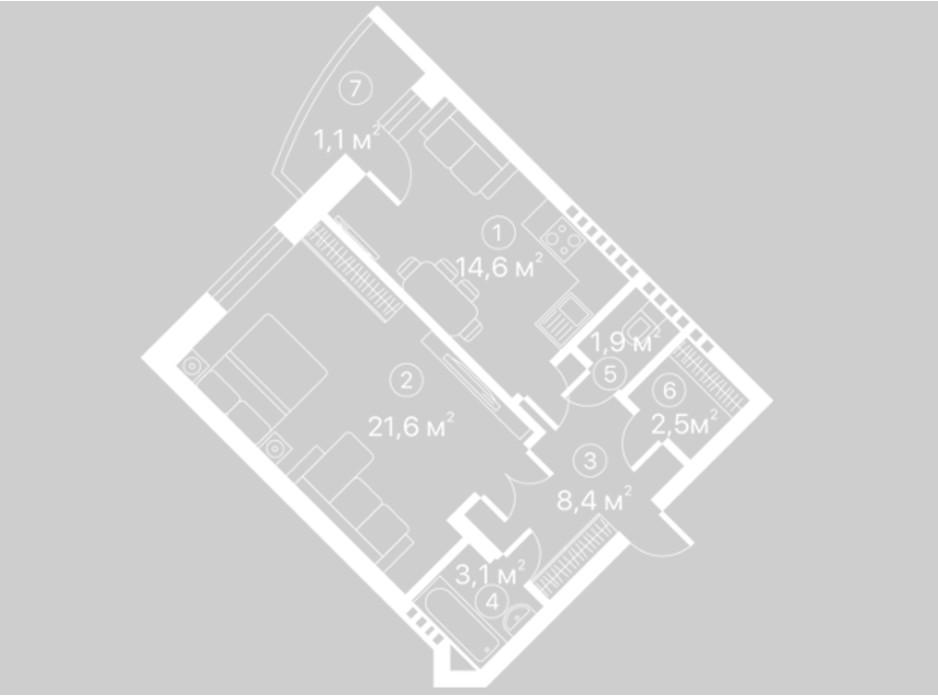 Планировка 1-комнатной квартиры в ЖК Киевский Шлях 53.2 м², фото 128113