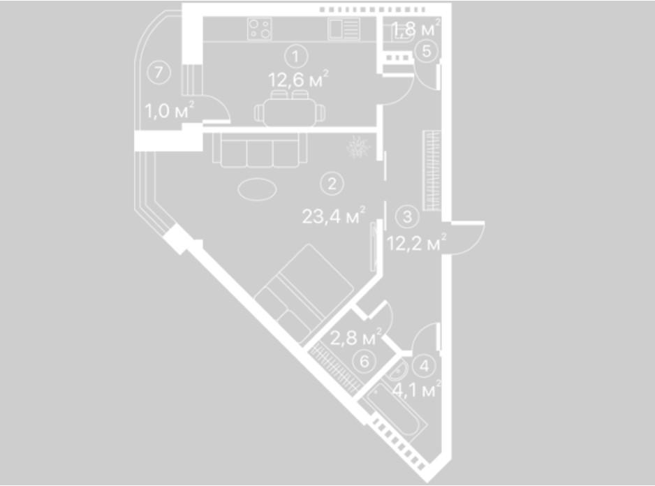 Планування 1-кімнатної квартири в ЖК Київський шлях 57.9 м², фото 128114