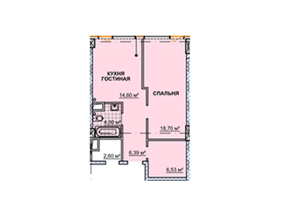 Планировка квартиры студии в ЖК Neboshill 51.72 м², фото 129338