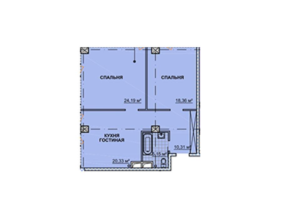 Планировка квартиры студии в ЖК Neboshill 80.29 м², фото 129339