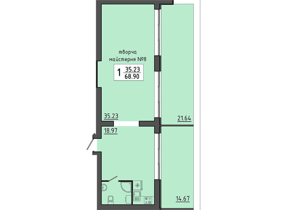 Планировка помещения в ЖК Энергия 68.9 м², фото 129538