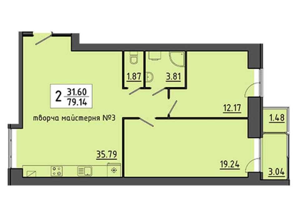 Планировка помещения в ЖК Энергия 79.14 м², фото 129539