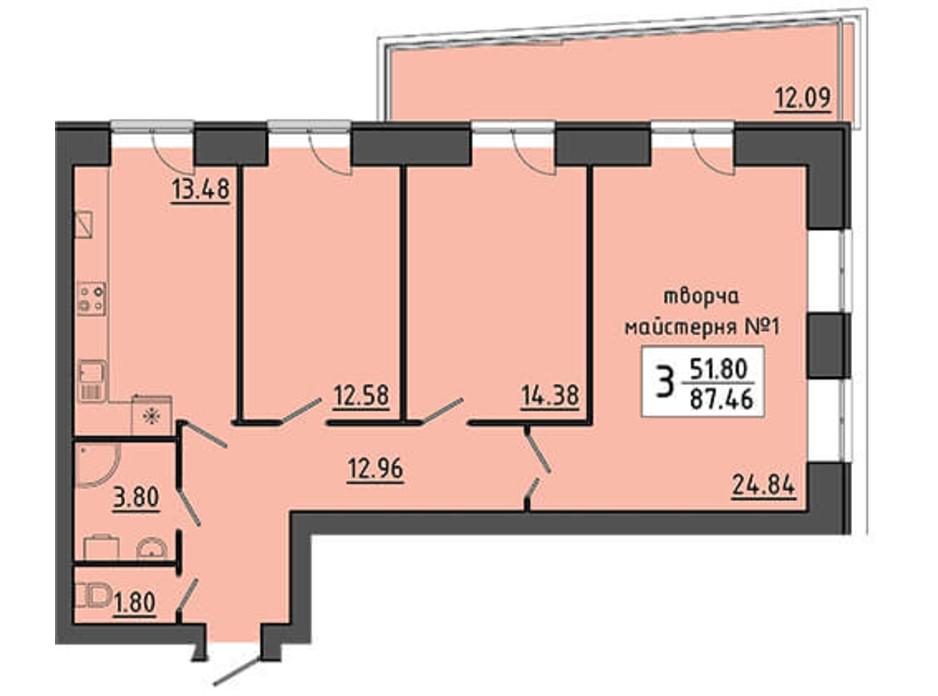 Планировка помещения в ЖК Энергия 87.46 м², фото 129540