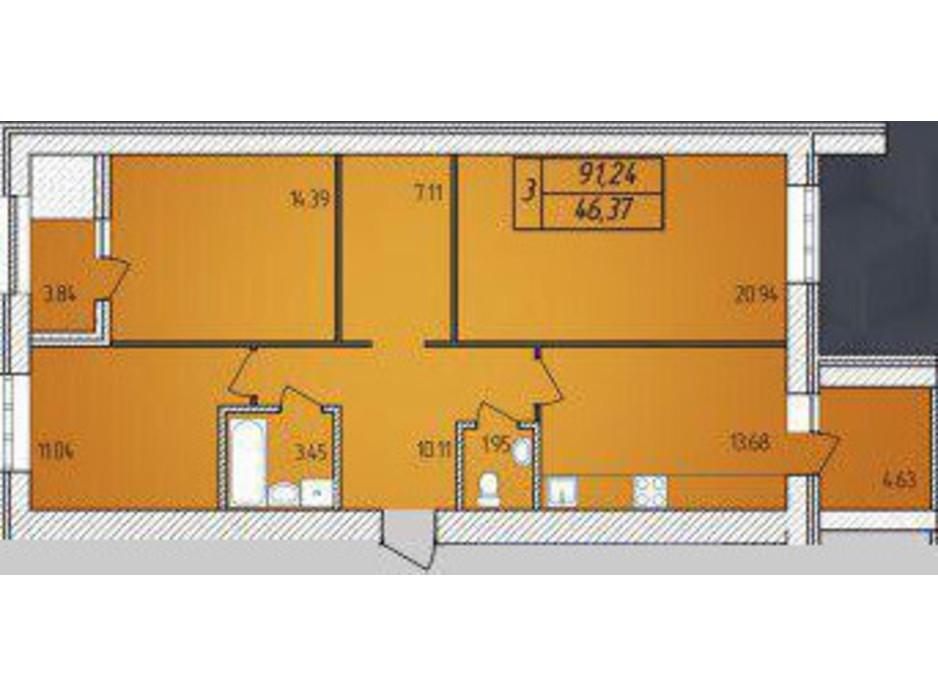Планування 3-кімнатної квартири в ЖК Avila 91.24 м², фото 129689