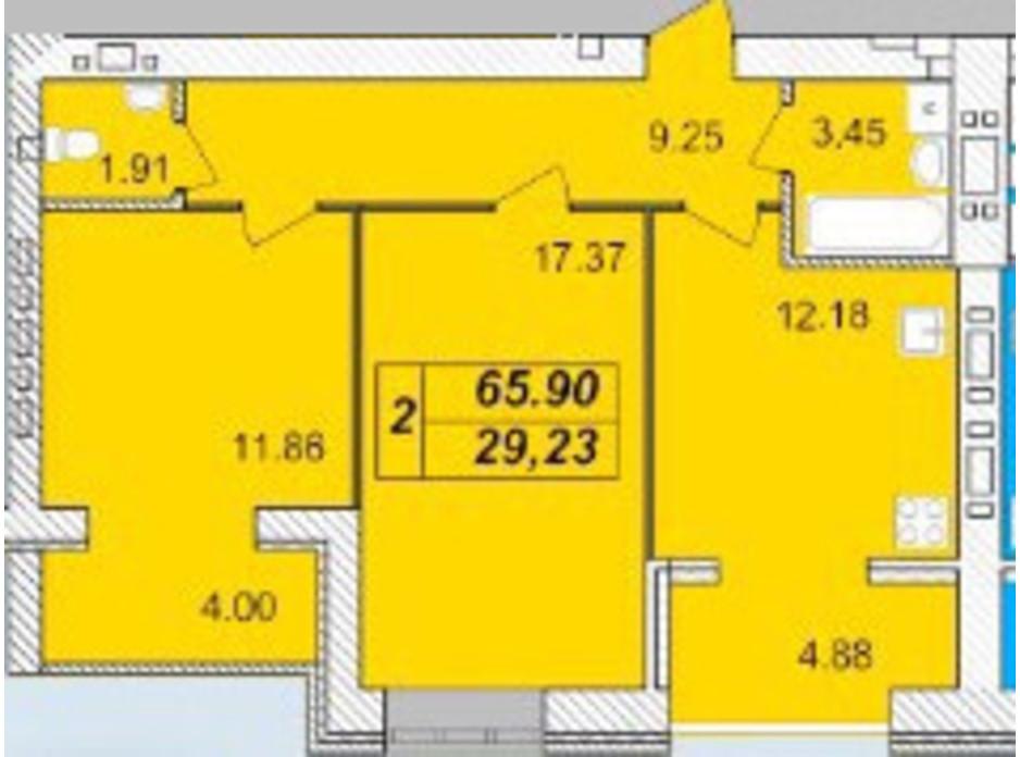 Планировка 2-комнатной квартиры в ЖК Avila 65.9 м², фото 129697