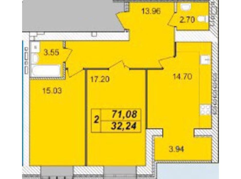 Планировка 2-комнатной квартиры в ЖК Avila (Авила) 71.08 м², фото 129698