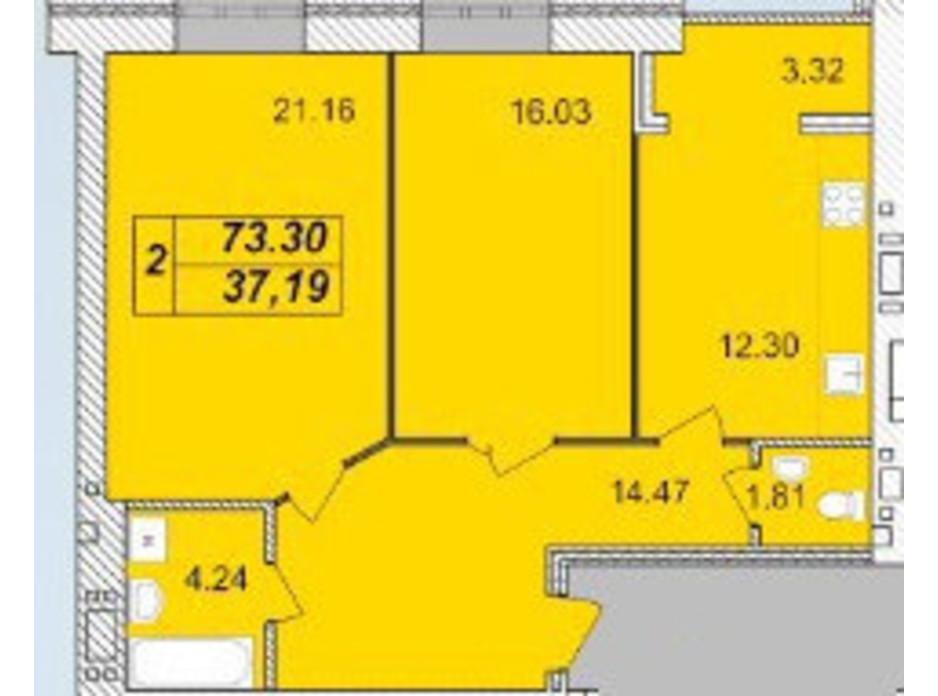 Планировка 2-комнатной квартиры в ЖК Avila (Авила) 73.3 м², фото 129699