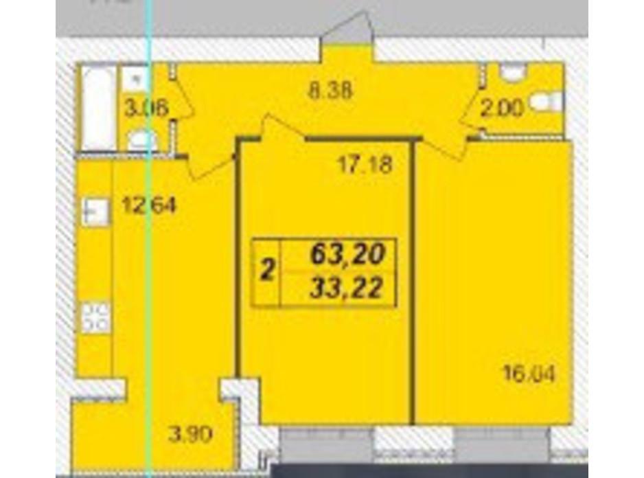 Планировка 2-комнатной квартиры в ЖК Avila (Авила) 63.2 м², фото 129705