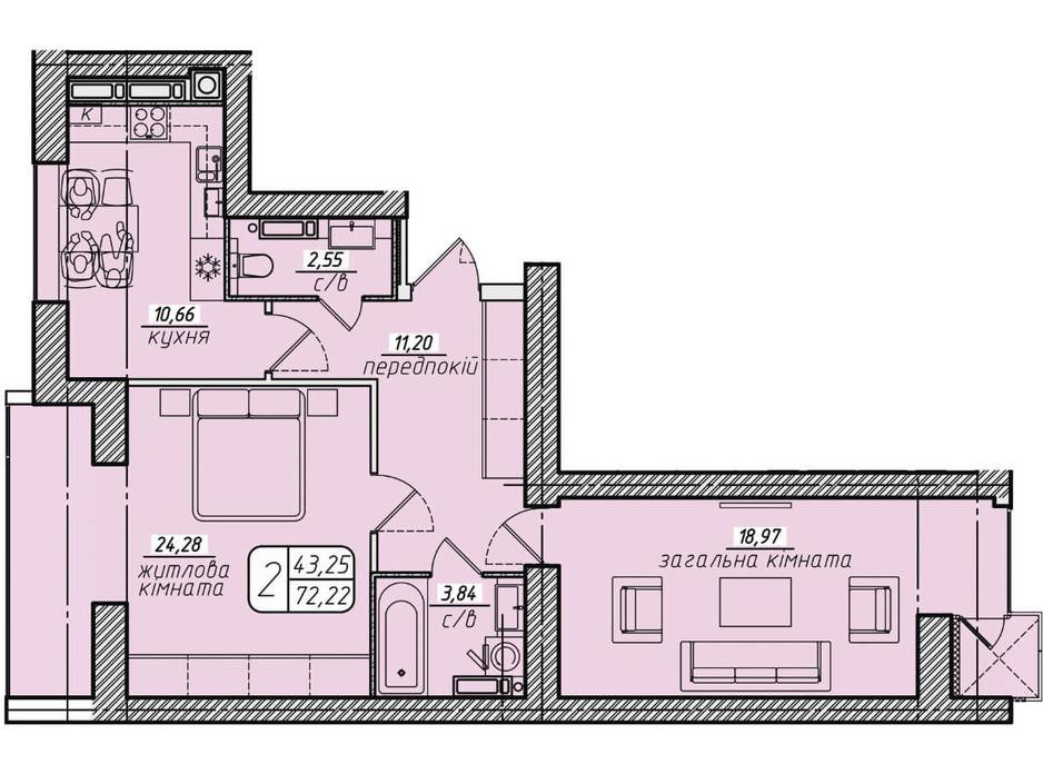 Планування 2-кімнатної квартири в ЖК Західний 72.22 м², фото 130055