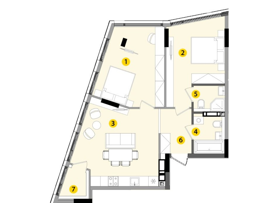 Планировка 2-комнатной квартиры в ЖК Lucky Land 68.35 м², фото 130258