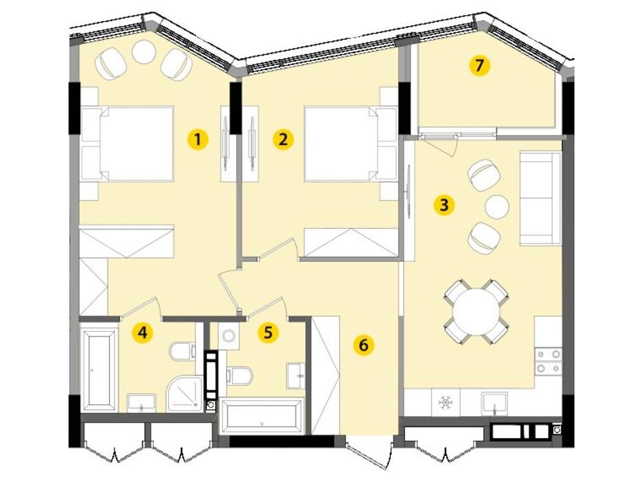 Планировка 2-комнатной квартиры в ЖК Lucky Land 73.97 м², фото 130260