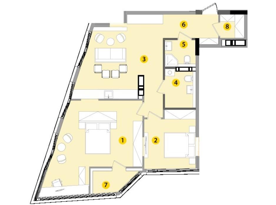 Планировка 2-комнатной квартиры в ЖК Lucky Land 83.41 м², фото 130262