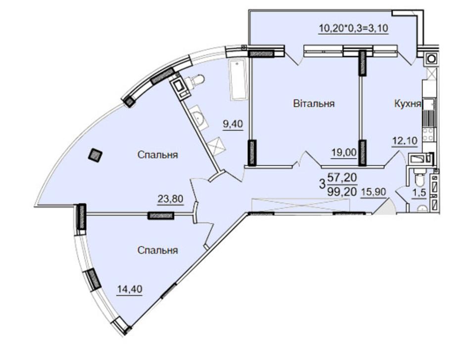 Планировка 3-комнатной квартиры в ЖК Буковинский 99 м², фото 130635