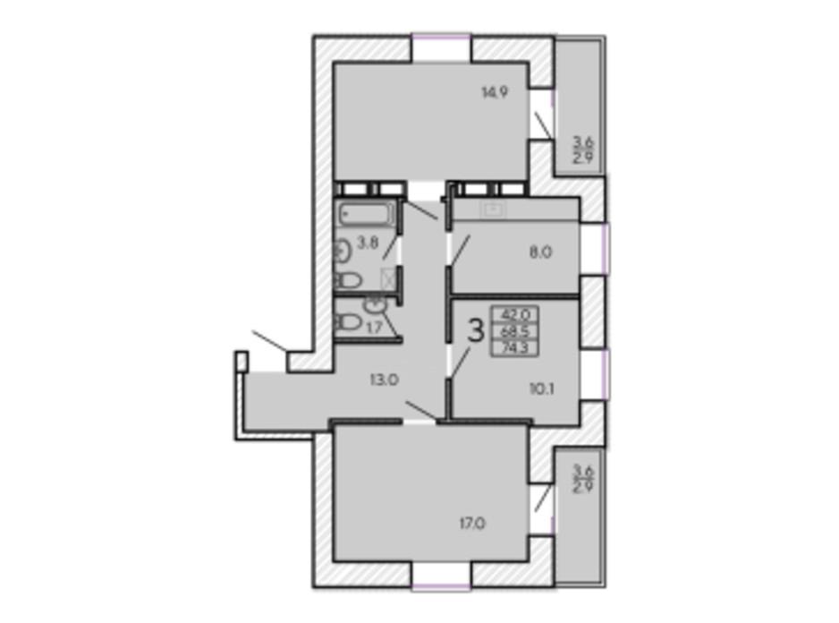 Планировка 3-комнатной квартиры в ЖК ZerNova 74.3 м², фото 131101