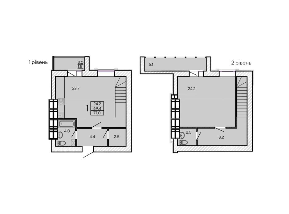 Планировка многоуровневой квартиры в ЖК ZerNova 77 м², фото 131103