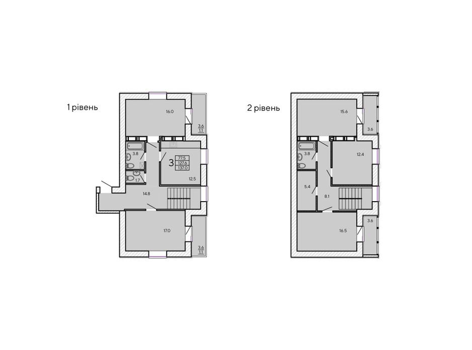 Планировка многоуровневой квартиры в ЖК ZerNova 137 м², фото 131104
