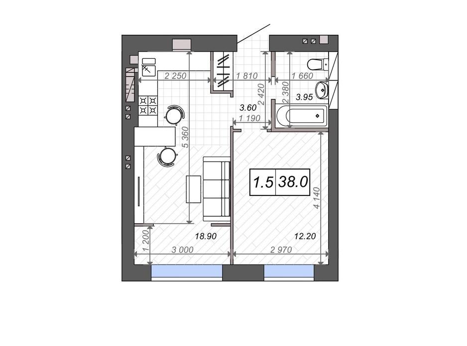Планування 1-кімнатної квартири в ЖК Нові Метри PARK 38 м², фото 131526