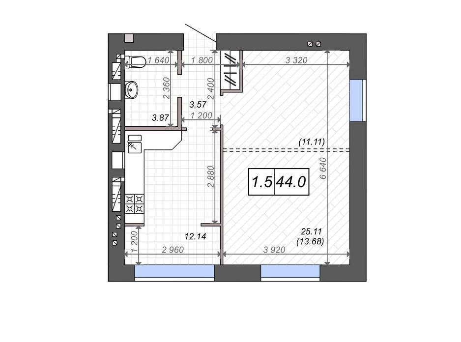 Планування 1-кімнатної квартири в ЖК Нові Метри PARK 44 м², фото 131528