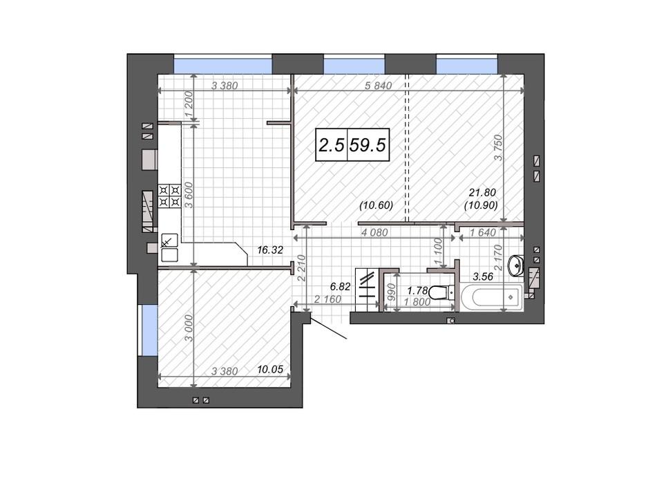 Планування 2-кімнатної квартири в ЖК Нові Метри PARK 59.5 м², фото 131531