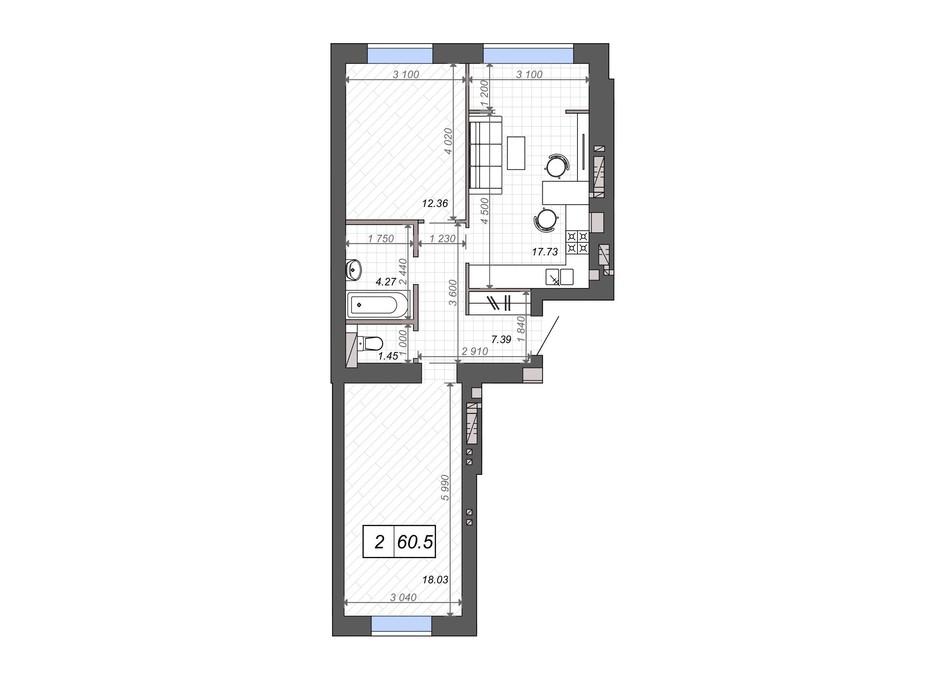 Планування 2-кімнатної квартири в ЖК Нові Метри PARK 60.5 м², фото 131533
